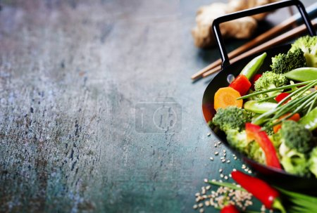 Photo for Chinese cuisine. Wok cooking vegetables. Vegetarian wok - Royalty Free Image