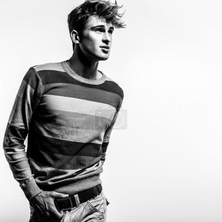 Photo for Elegant stylish handsome man. Black-white studio fashion portrait. - Royalty Free Image