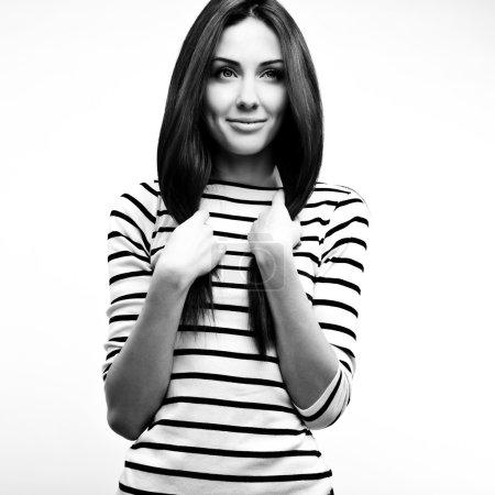 Black-white portrait of beautiful fashionable woman.