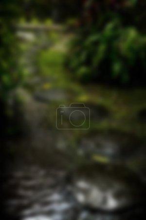Foto de Hermosa vista borrosa tropical en desenfoque. Foto de paisaje con camino vacío. - Imagen libre de derechos