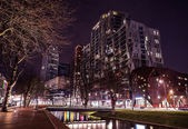 ROTTERDAM, NETHERLANDS - DECEMBER 26, 2015: Famous city sights at night time on December 26, 2015 in Rotterdam - Netherlands.
