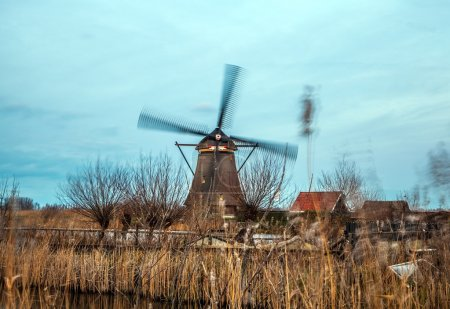 Windmills and water canal on