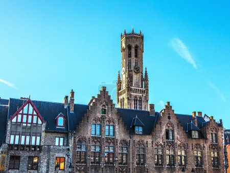 Belfort tower in Bruges, touristic center in Flanders city of Brugge and UNESCO world heritage.
