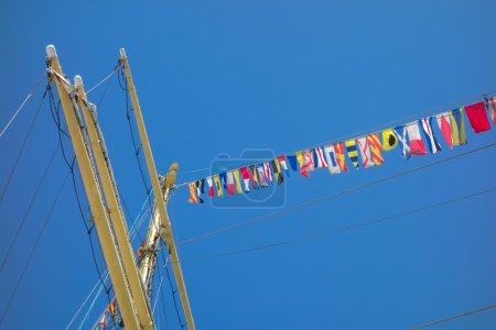 Marine rope ladder at pirate ship