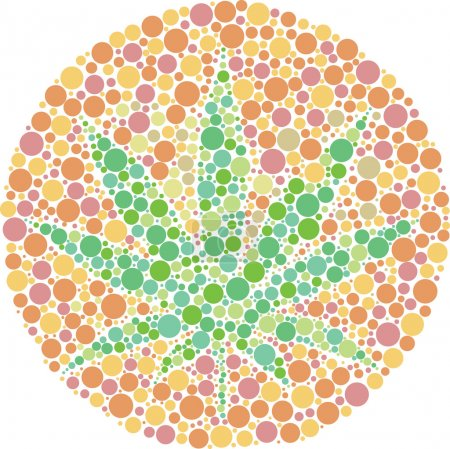 Illustration for Ishihara color test plate with the shape of cannabis leaf. Vector Illustrator EPS 10. - Royalty Free Image