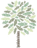 Business strategy Conceptual green tree made from words which relate with business