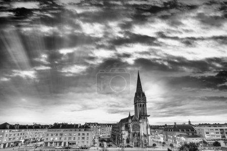 Caen panoramic view at dusk