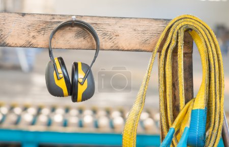 Protective headphone in industrial factory