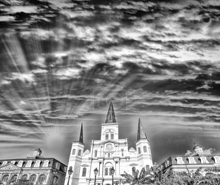 Black and white view of Jackson Square at dusk, New Orleans