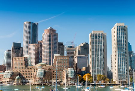 Photo for Boston skyline from the sea. - Royalty Free Image