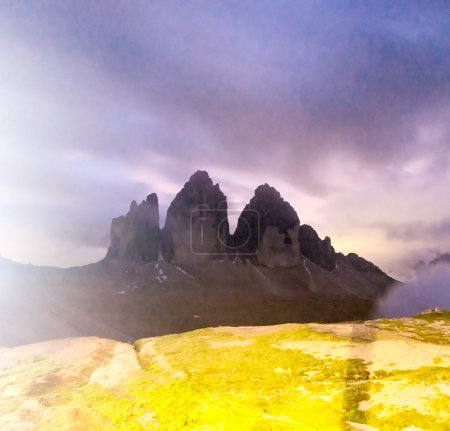 Tre Cime di Lavaredo, Dolomites peaks at night