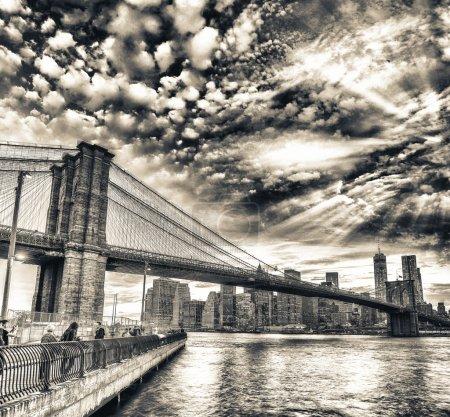 The Brooklyn Bridge at sunset, NYC