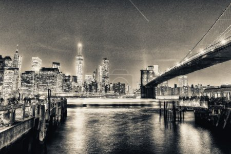 Photo for Skyline of Lower Manhattan. Skyscrapers at night. - Royalty Free Image