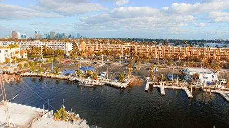 Aerial view of Fort Lauderdale at sunrise. Canals and city skyli