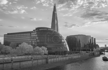 London Buildings and skyline, infrared view