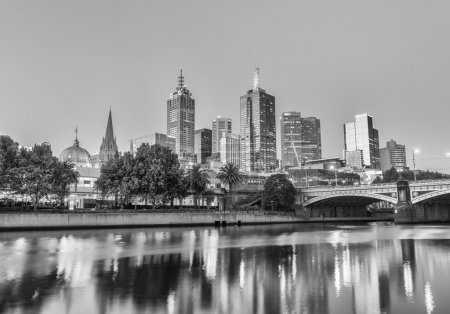 MELBOURNE - OCTOBER 2015: Black and white city skyline at night.