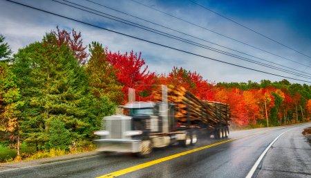 Photo pour Camion à déplacement rapide le long du paysage de la route de feuillage . - image libre de droit