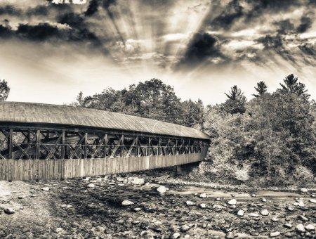New England wooden bridge at dusk