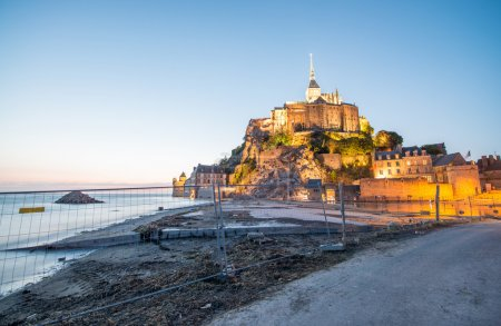 Wonderful view of Mont Saint Michel at summer night