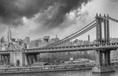 Brooklyn Bridge with  Manhattan skyline panorama
