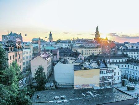 Beautiful city aerial view at dusk