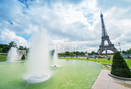 The Eiffel Tower in  beautiful summer day
