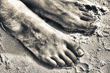 Beautiful woman feet in the warm sand
