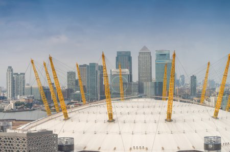 Canary Wharf financial district skyline in London