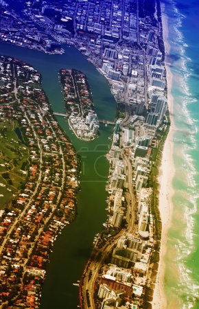 Miami Beach aerial view. Indian Creek waterway and Allison Island.