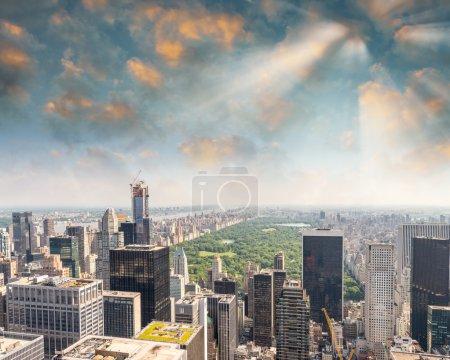 New York City Manhattan midtown aerial panorama view