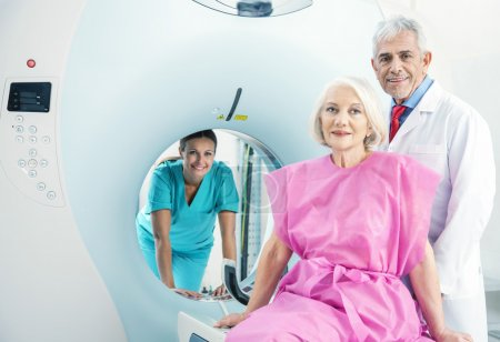 Woman in 60s ready to undergo MRi scan
