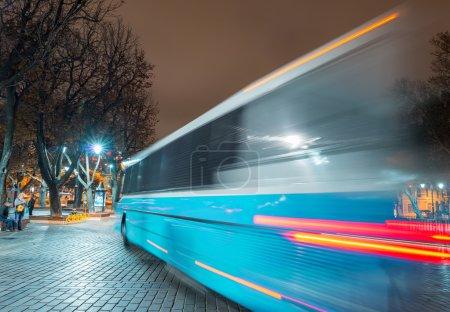 Bus light trails crossing Sultanahmet Square
