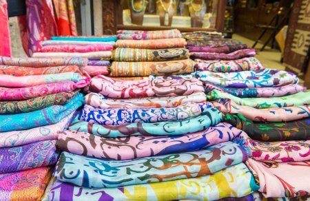 Colorful scarfs in Istanbul Flee market