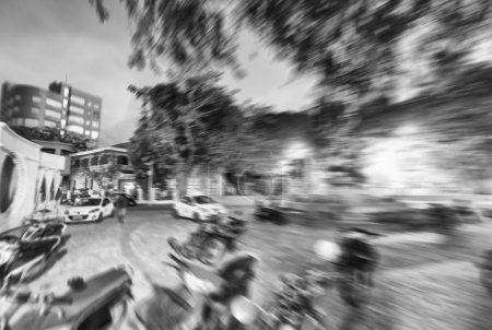 Blurred night cityscape in Male' - Maldives