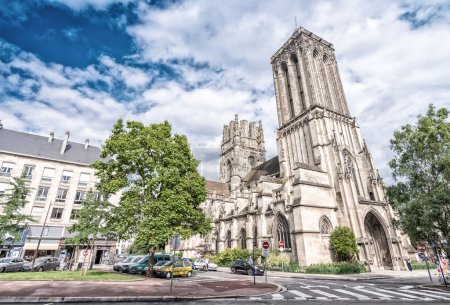 CAEN, FRANCE - Church of Sain Jean. Caen medieval architecture a