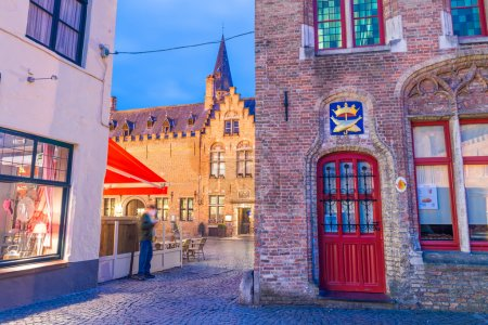 Bruges, Belgium. Night view of colourful streets