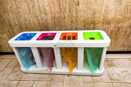 Different Colored Bins For Collection Of Recycle Materials