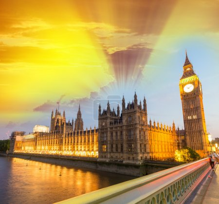 Photo for Wonderful sunset sky over Westminster. Houses of Parliament at golden hour, London, - Royalty Free Image