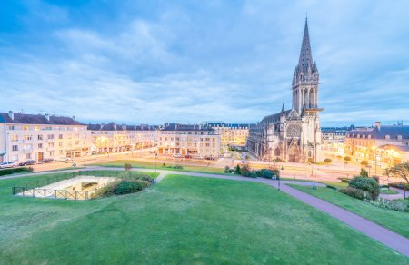 Panoramic view of Caen town,  France