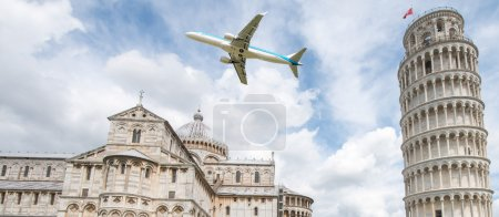 Photo for Airplane over Square of Miracles in Pisa - Italy. - Royalty Free Image