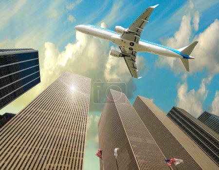 Aircraft overflying New York City skyline