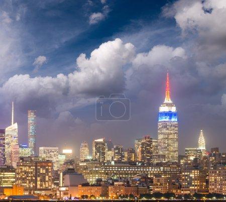 Evening sky over Manhattan skyline