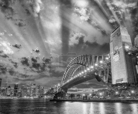 Stunning night skyline of Sydney, NSW. Black and white view