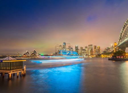 Photo for Stunning sunset at Sydney Harbour with moving ship. - Royalty Free Image