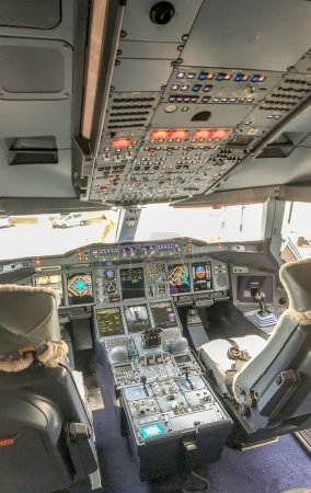 Photo for Interior of airplane cockpit. - Royalty Free Image