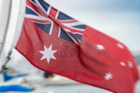Australian flag waving at the wind