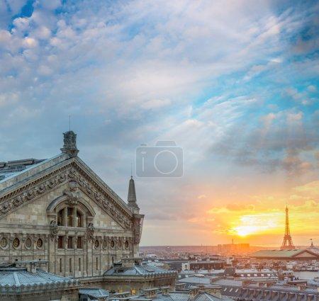 Aerial skyline of Paris, France