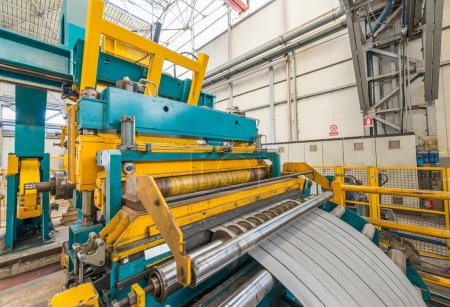 Cold rolled steel coil on decoiler of machine in metalwork manuf