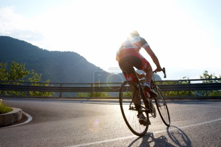Photo for Cyclist riding uphill on a mountain roadway, Italy - Royalty Free Image