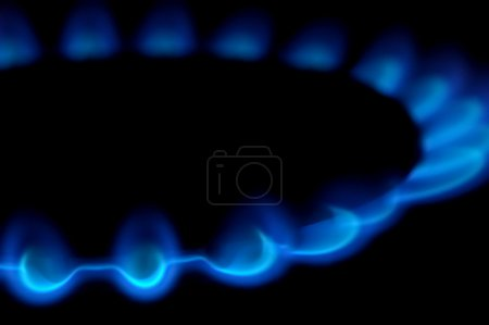 Flames of gas powered stove